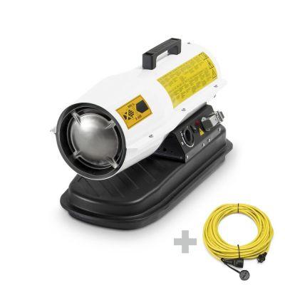 Direct oliegestookte kachel IDE 20 D + Profi verlengingskabel 20 m / 230 V / 2,5 mm²