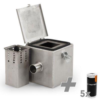 Rookgaskamer Edelstaal V2 + 5x Rookpatronen (wit)