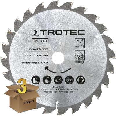 Cirkelzaagbladenset voor hout Ø 150 mm (24 tanden), 3-delig
