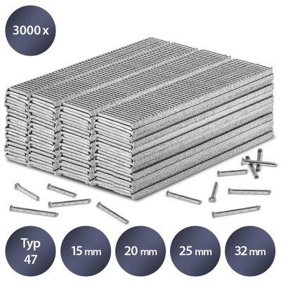 Tackernagels-set type 47, 15, 20, 25 en 32 mm lengte (3000 stuks)