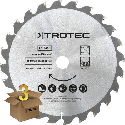 Cirkelzaagbladenset voor hout Ø 190 mm (24 tanden), 3-delig