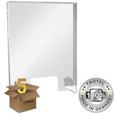 Baliescherm plexiglas met aerosolrand SMALL 595 x 250 x 750 pakket van 5 stuks