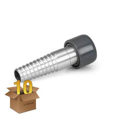 Aluminium-Schroefstuk voor 38 mm slang (in een pakket van 10)
