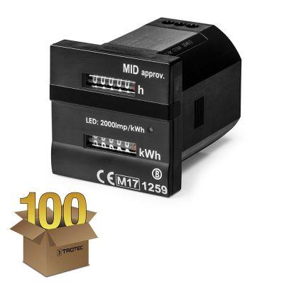 Dubbele teller - Voor bedrijfsuren en kilowattuur MID-conform in een pakket van 100