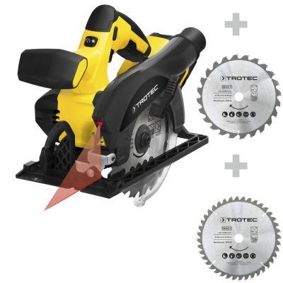 Accu handcirkelzaag PCSS 10-20V + Cirkelzaagbladenset voor hout Ø 150 mm (24 + 40 tanden)