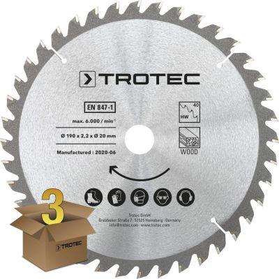 Cirkelzaagbladenset voor hout Ø 190 mm (40 tanden), 3-delig