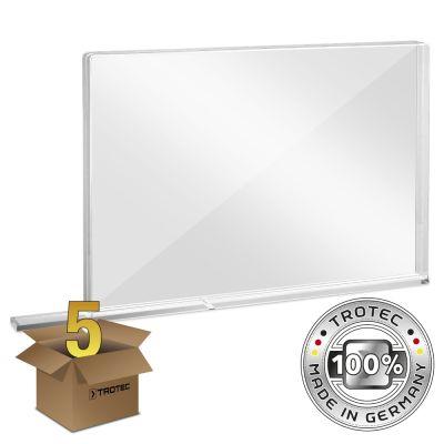 Schooltafel-scherm plexiglas met aerosolrand MEDIUM 1007 x 69 x 688 pakket van 5 stuks