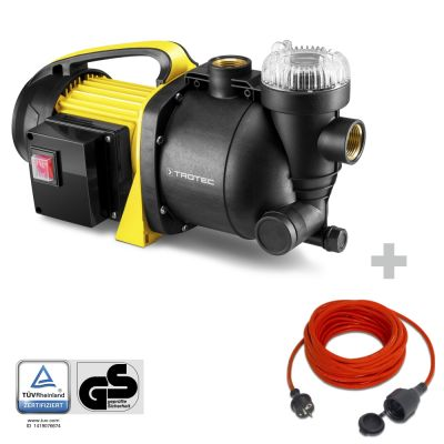 Tuinpomp met filter TGP 1005 E + Kwaliteits verlengsnoer 15 m / 230 V / 1,5 mm²