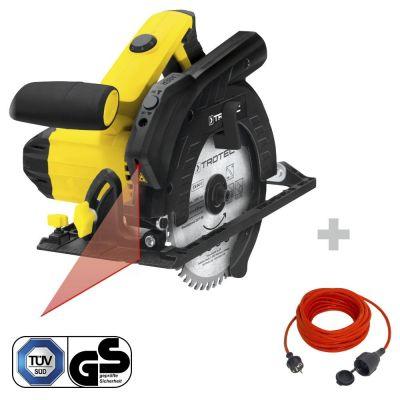 Handcirkelzaag PCSS 10-1400 + Kwaliteits verlengsnoer 15 m / 230 V / 1,5 mm²