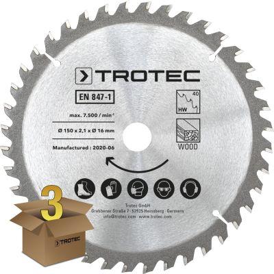 Cirkelzaagbladenset voor hout Ø 150 mm (40 tanden), 3-delig